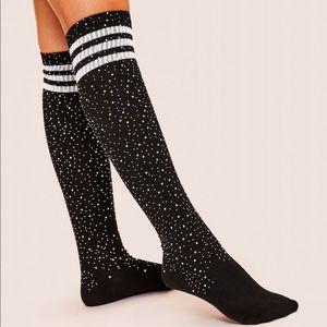 Rhinestone moonshine striped knee high socks boots